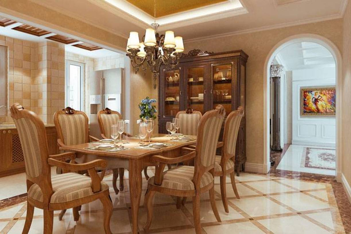 欧式风格餐厅吊顶装修效果图-欧式风格餐桌餐椅图片图片