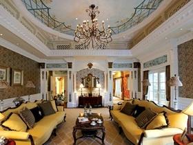 法式风格别墅客厅沙发背景墙装修效果图,法式风格吊顶图片