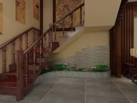 中式风格复式楼走廊楼梯装修效果图-中式风格实木楼梯图片