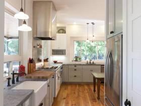 现代简约风格长方形小户型厨房装修图片-现代简约风格橱柜台面图片