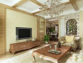 180㎡欧式风格三居室客厅电视背景墙装修效果图-欧式风格电视柜图片