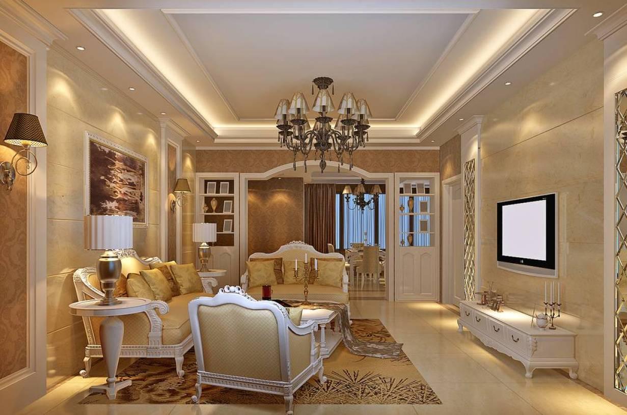 三室两厅两卫简欧风格客厅吊顶装修效果图-简欧风格双人沙发图片