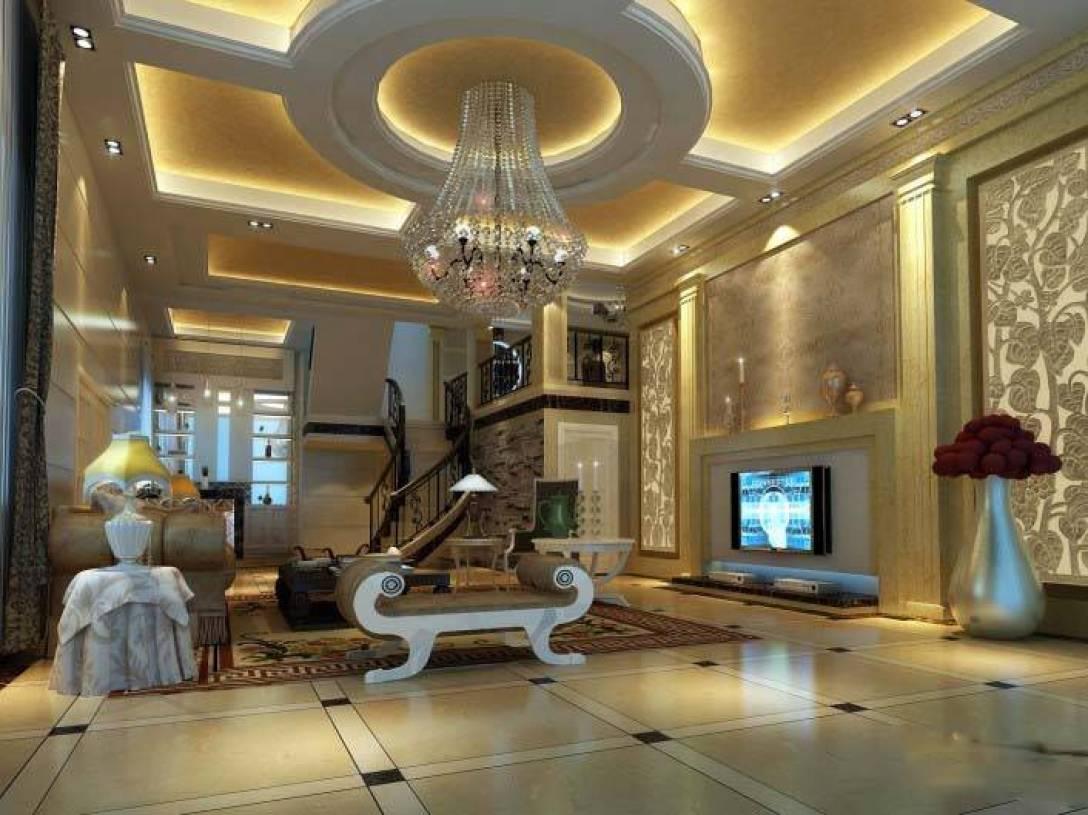 欧式别墅客厅吊顶装修效果图-欧式风格水晶吊灯图片