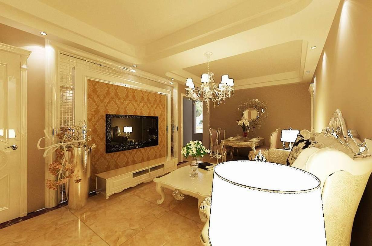 简欧风格小户型客厅电视背景墙装修效果图-简欧风格电视柜图片