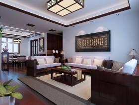 135㎡三居新中式风格客厅沙发背景墙装修效果图-新中式风格实木茶几图片
