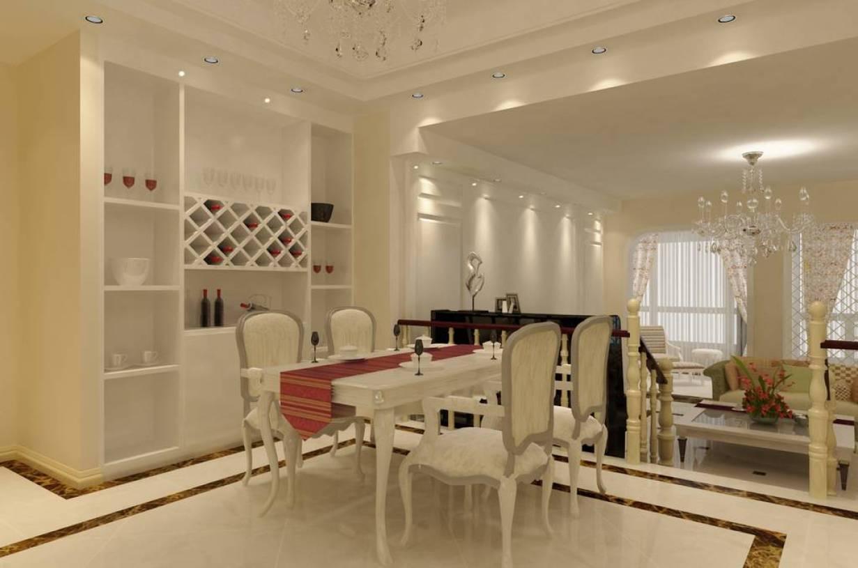 简约欧式风格餐厅背景墙装修效果图-简约欧式风格酒柜
