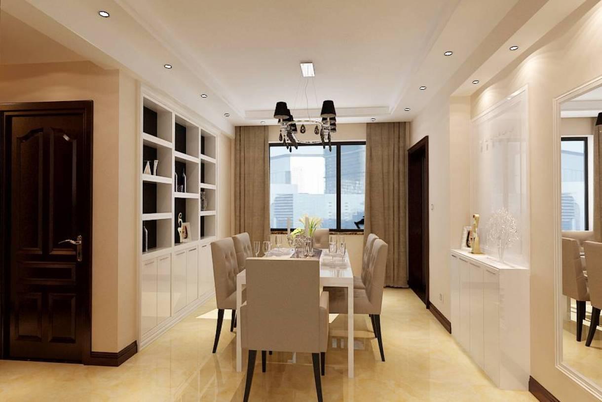 142m现代简约风格三居餐厅吊顶装修效果图,现代简约风格餐边柜图片图片
