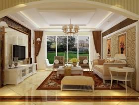 110㎡三居室简约欧式风格客厅电视背景墙装修效果图-简约欧式风格边几图片