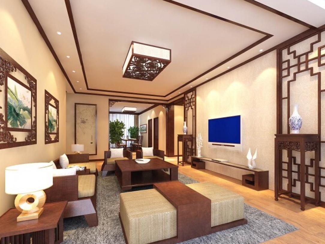 简约中式风格客厅吊顶装修效果图-简约中式风格吸顶灯