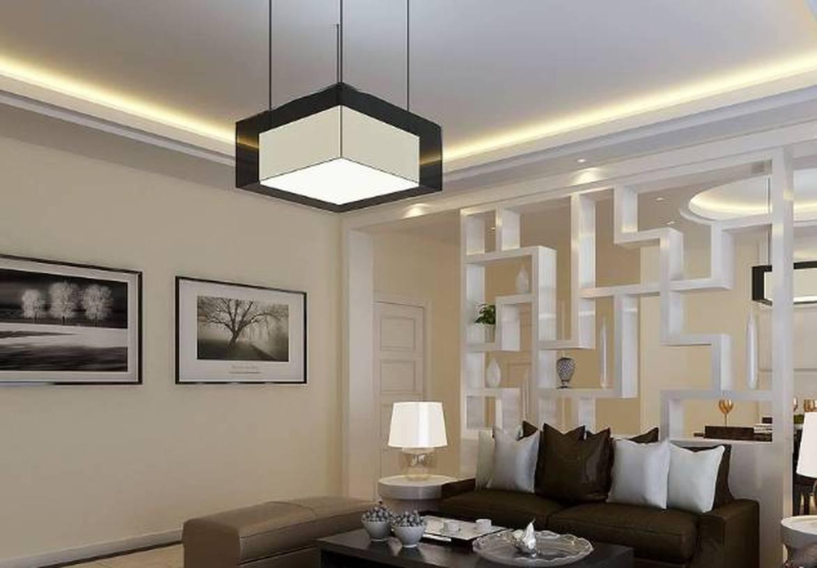 现代风格平房客厅隔断造型装修效果图-现代风格吊灯图片