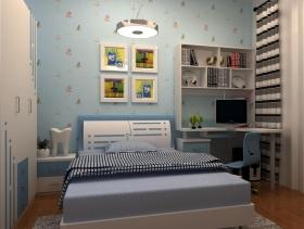 现代风格小平米儿童卧室壁纸装修效果图-现代风格儿童书柜图片