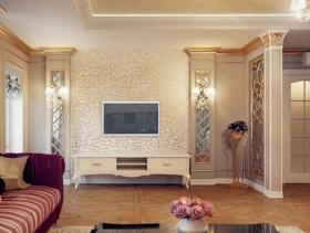 简约欧式风格客厅电视背景墙装修效果图-简约欧式风格电视柜图片