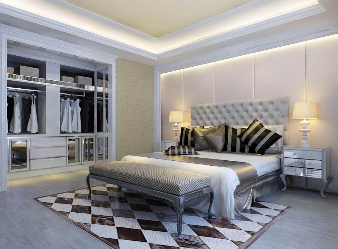 380㎡简欧风格卧室背景墙装修效果图-简欧风格开放式衣柜图片