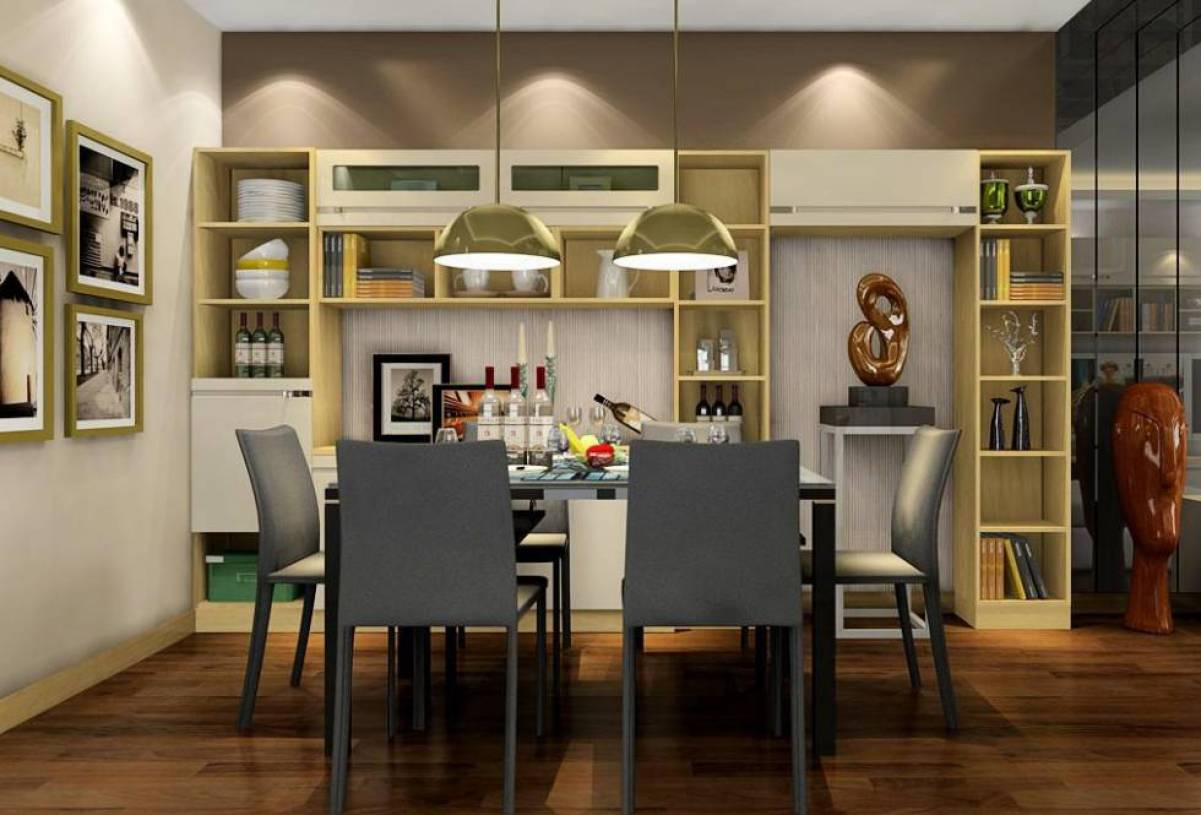 99m二居室现代风格餐厅背景墙装修效果图-现代风格酒柜图片