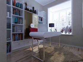 113㎡现代简约风格书房墙面装修效果图-现代简约风格创意书桌图片
