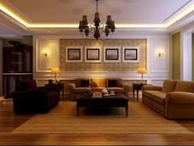 欧式田园风格三居室客厅沙发背景墙装修效果图,欧式田园风格吊顶图片