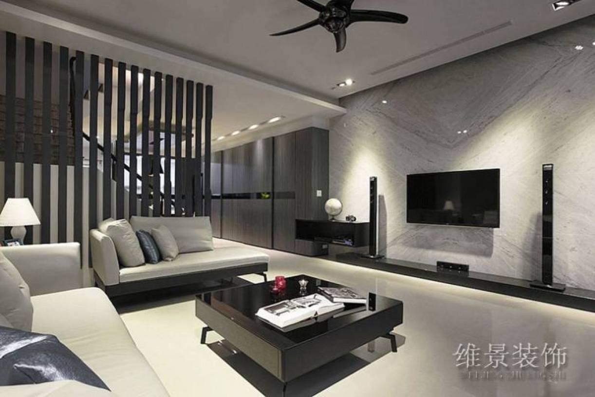 现代风格复式楼客厅电视背景墙装修效果图,现代风格吊顶图片