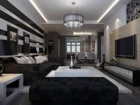 现代简约风格三居室客厅电视墙装修效果图,现代简约风格吊顶图片