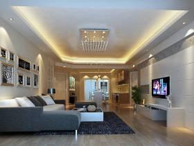 现代简约风格客厅吊顶装修效果图-现代简约风格转角沙发图片