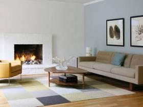 简约风格小户型小客厅沙发背景墙装修效果图-简约风格茶几图片