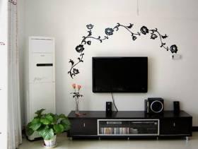 90㎡简约风格客厅电视背景墙装修图片-简约风格电视柜图片