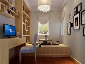 151㎡三居室现代风格书房吊顶装修效果图-现代风格书柜图片