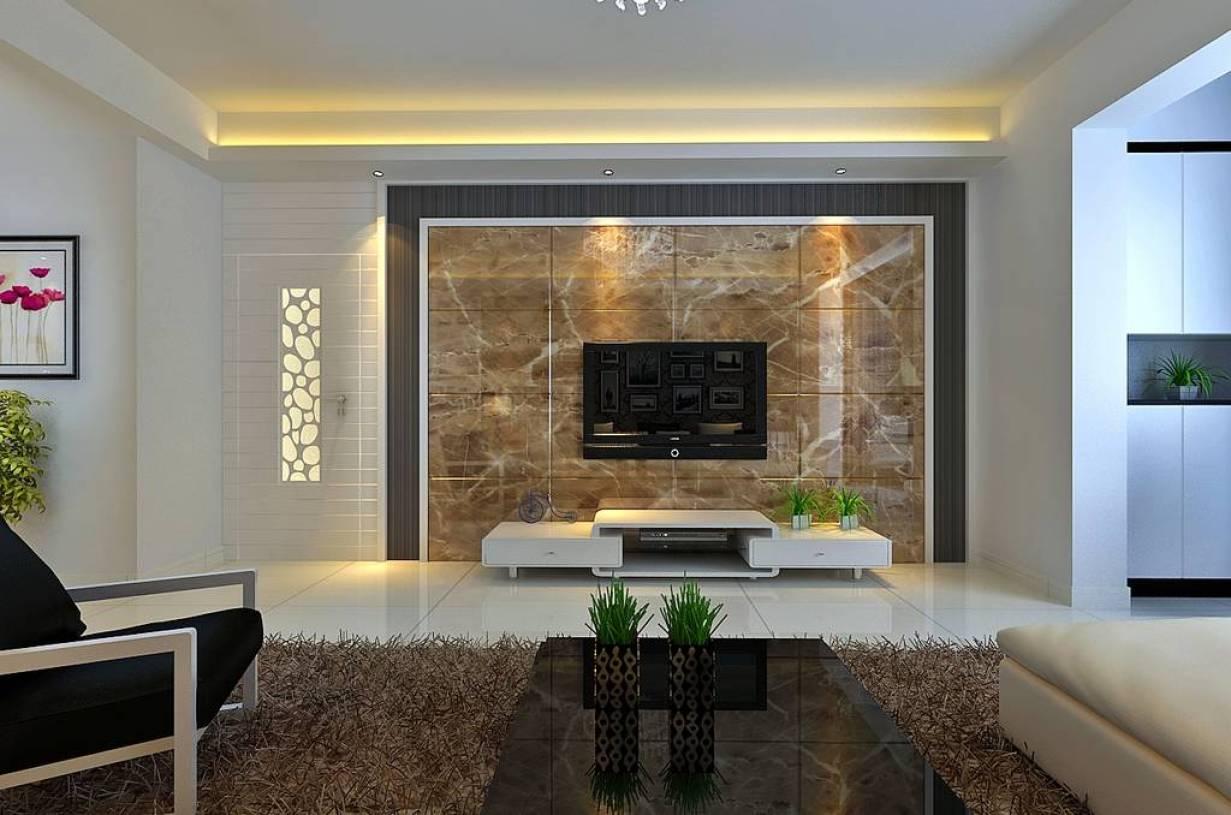 客厅大理石电视墙装修设计效果图