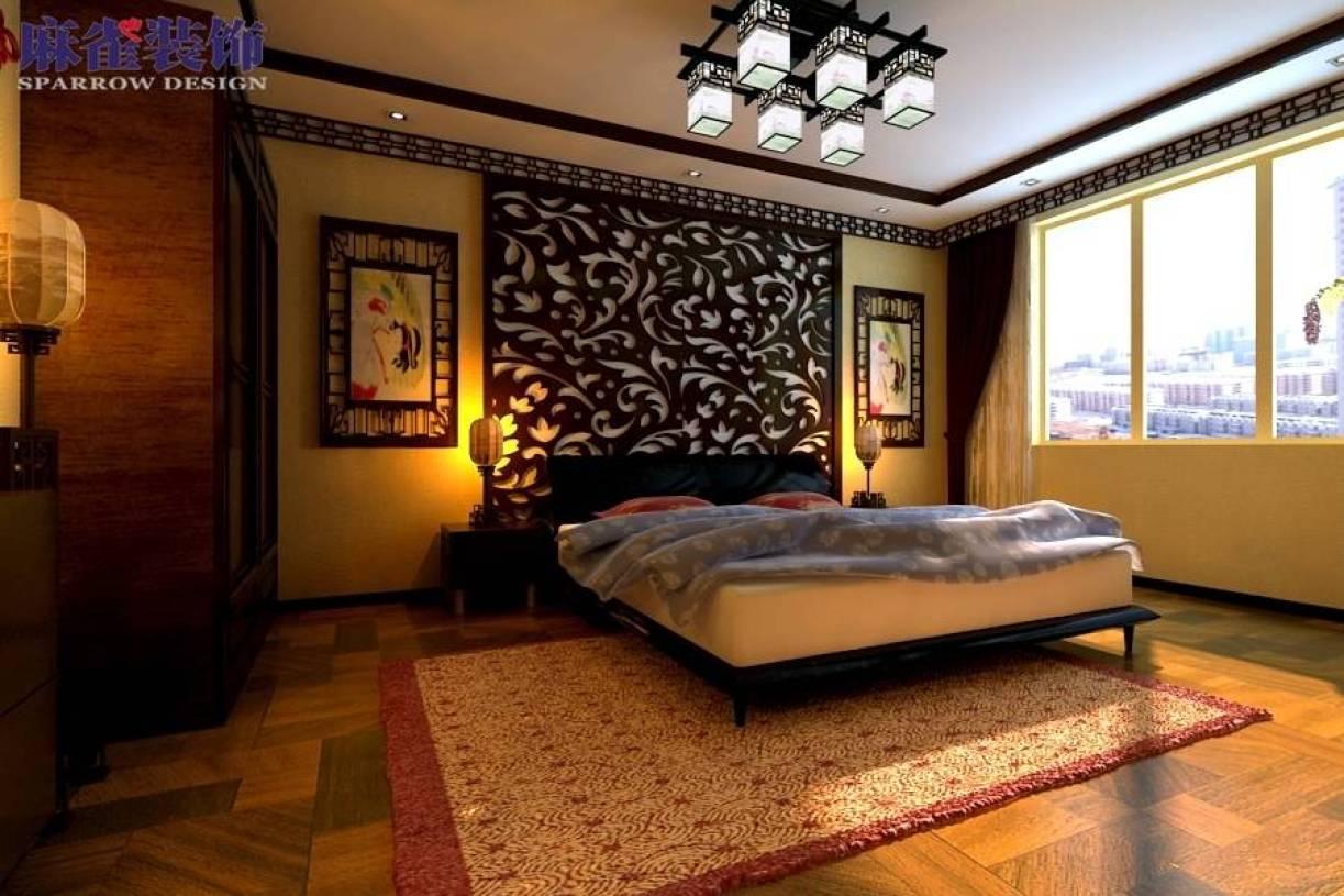 中式古典卧室木框吊顶实拍图片