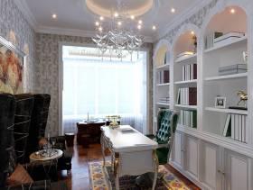 98㎡两室两厅欧式风格书房吊顶装修效果图-欧式风格书柜图片