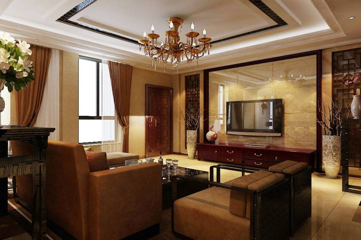 中式风格复式楼客厅电视背景墙装修效果图,中式风格吊顶图片