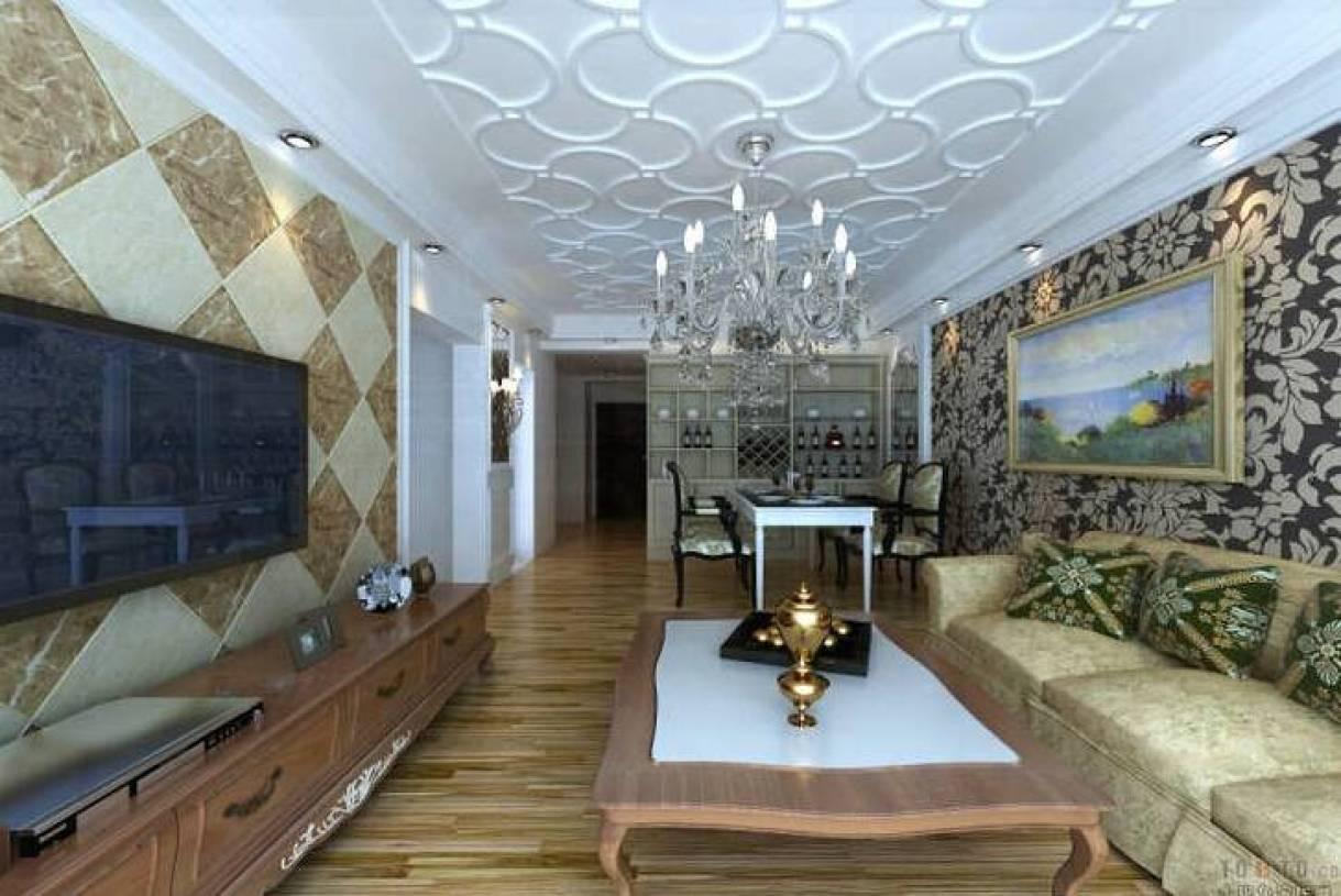 简约欧式风格客厅石膏线背景墙装修效果图-简约欧式风格实木茶几图片