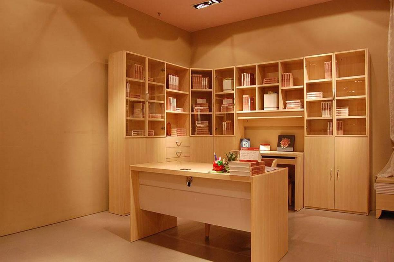 现代风格四居室书房背景墙装修效果图-现代风格转角书柜图片图片