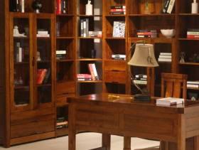 中式风格四居室书房装修图片-中式风格转角书柜图片