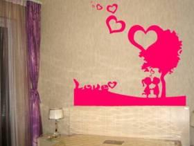 简约风格卧室床头背景墙装修图片-简约风格墙贴图片
