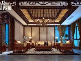 新中式风格别墅客厅吊顶装修效果图