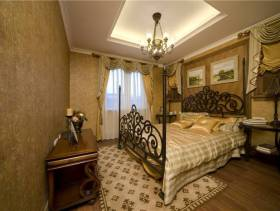 美式风格书卧室吊顶装修图片-美式风格铁艺床图片