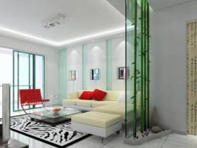 现代简约风格客厅玻璃隔断墙装修效果图-现代简约风格组合沙发图片