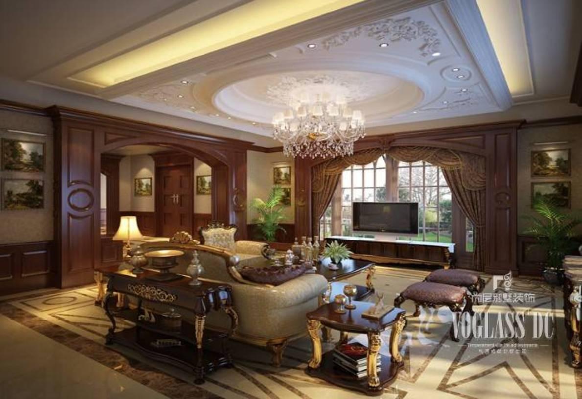 520㎡美式古典风格别墅客厅电视背景墙装修效果图,美式古典风格吊灯