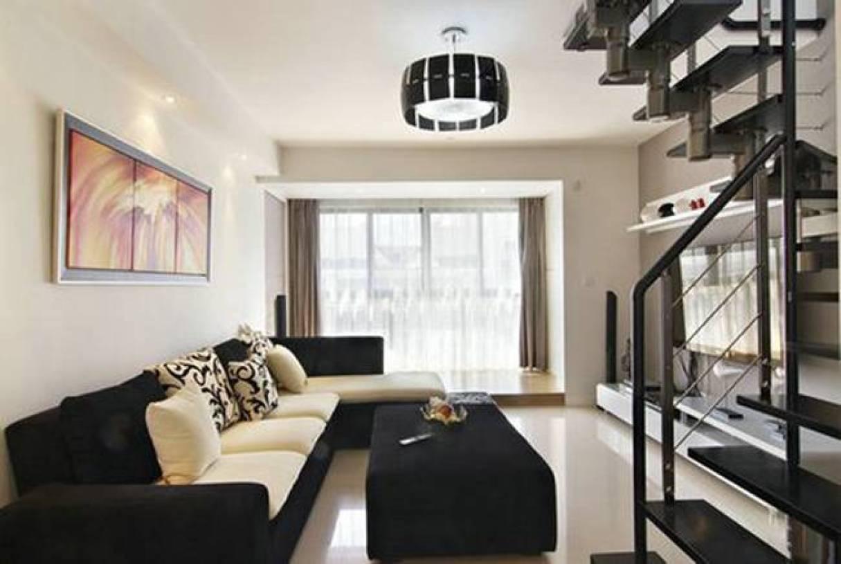 现代简约风格客厅旋转楼梯装修图片-现代简约风格茶几