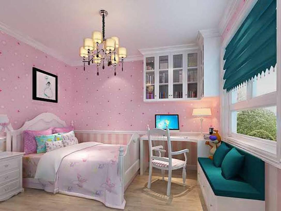 儿童房粉色壁纸装修效果图