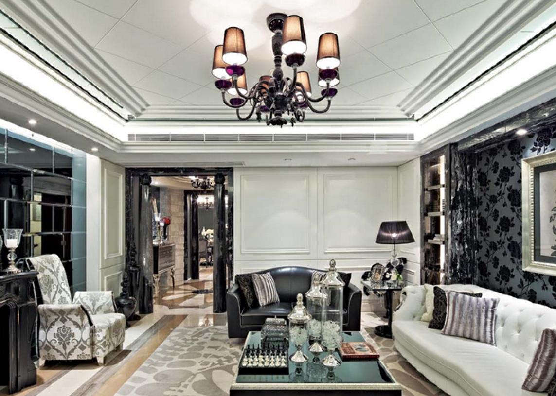 128㎡三居室欧式风格客厅吊顶装修效果图-欧式吊灯图片