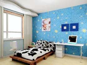 现代风格小平米儿童卧室壁纸装修效果图-现代风格实木床图片