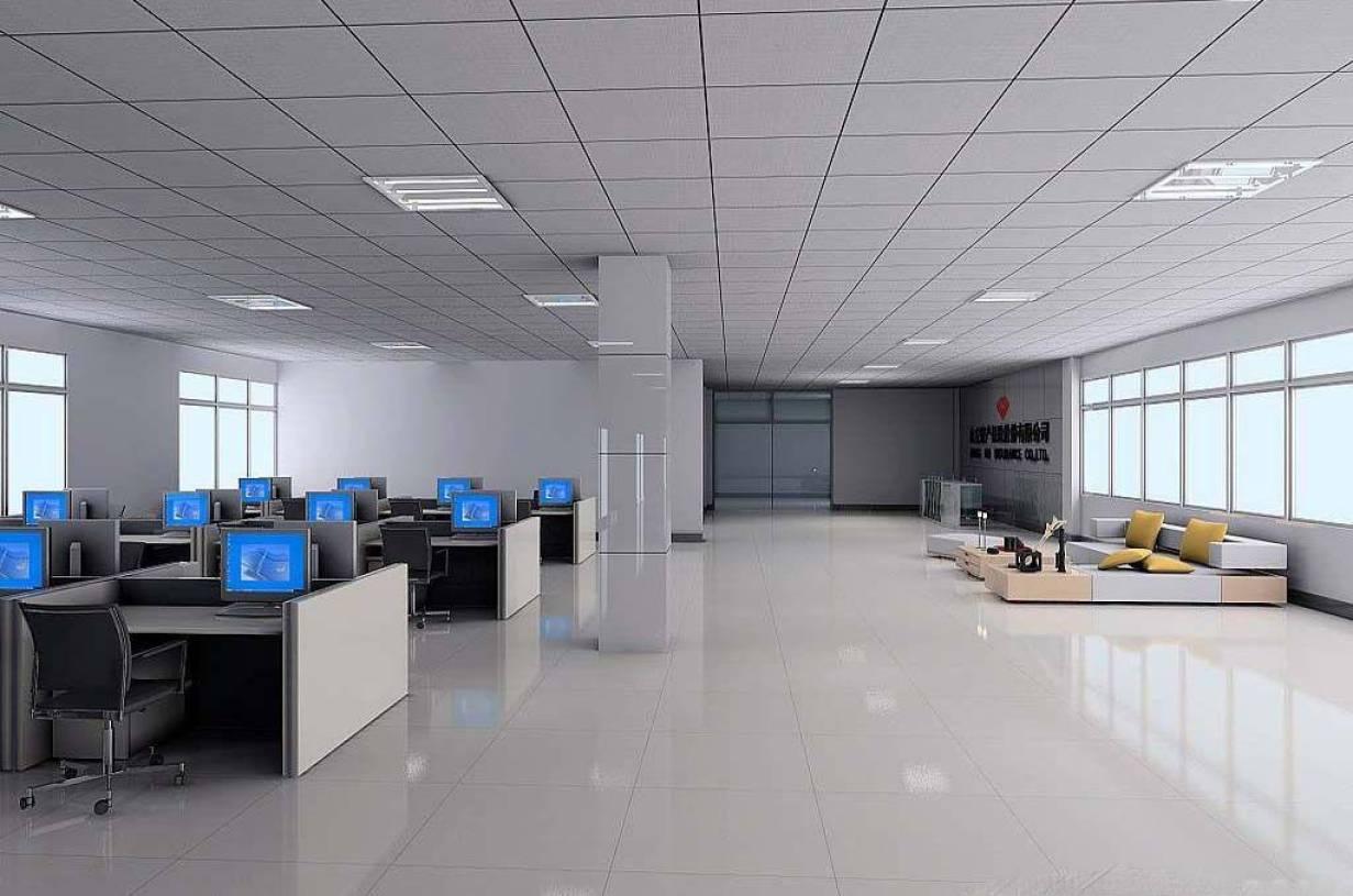现代风格办公室矿棉板吊顶装修效果图-现代风格办公桌