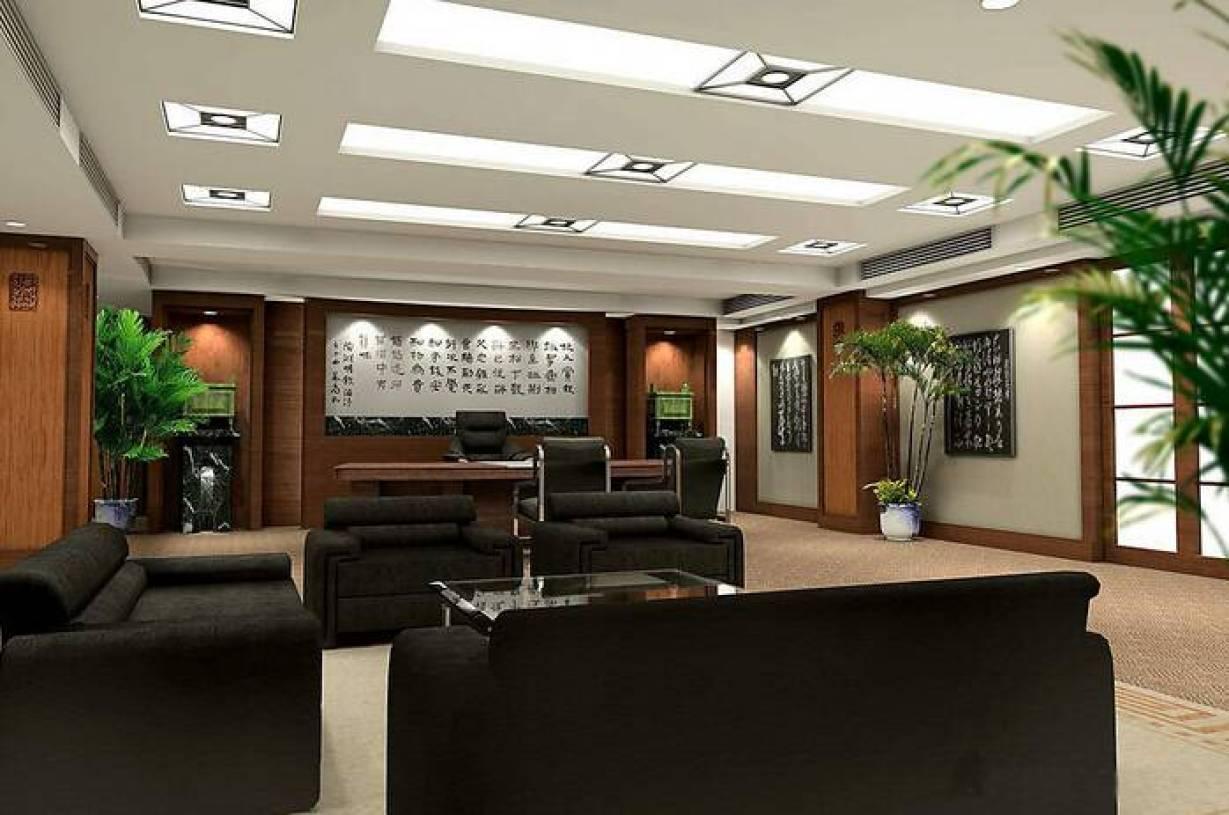 现代风格董事长办公室吊顶装修效果图-现代风格办公沙发图片