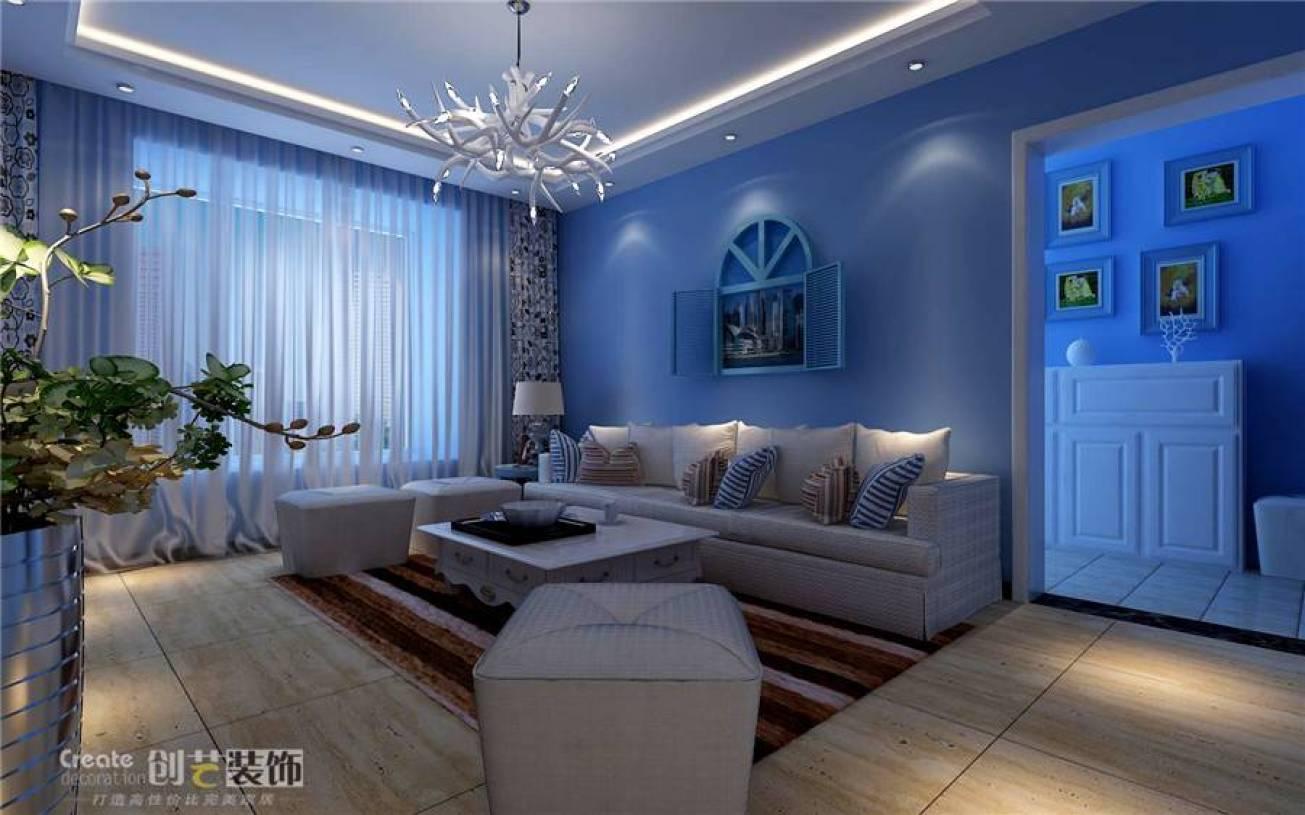 地中海风格蓝色客厅沙发背景墙装修效果图,地中海风格