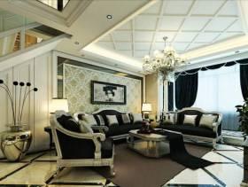 欧式风格小户型客厅吊顶装修效果图-欧式风格吊灯图片