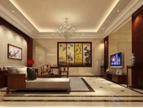 中式风格别墅起居室吊顶装修效果图