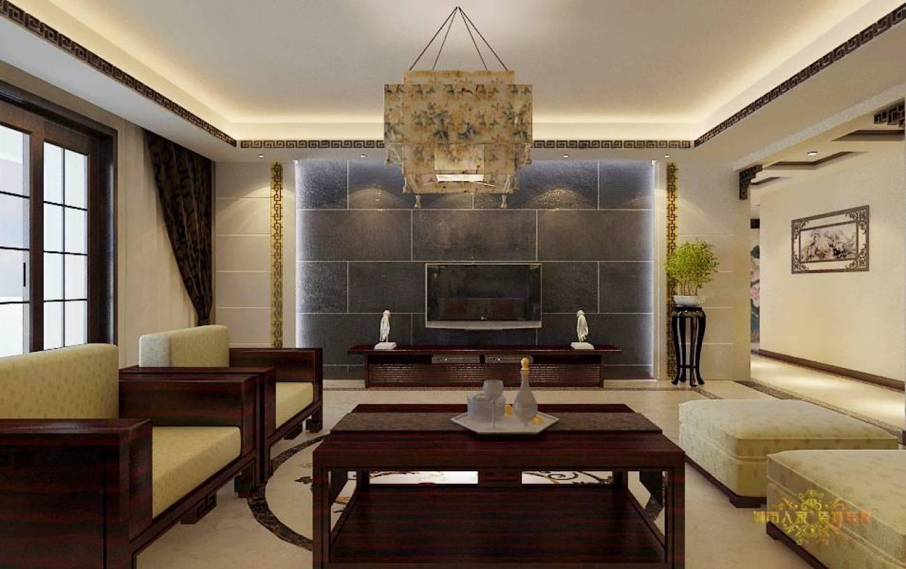 205m大户型新中式风格客厅电视背景墙装修效果图-新中式风格吊灯图片