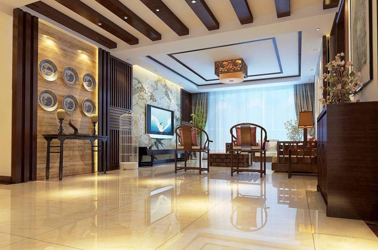 168㎡四居室简约中式风格过道吊顶装修效果图-简约中式风格端景台图片