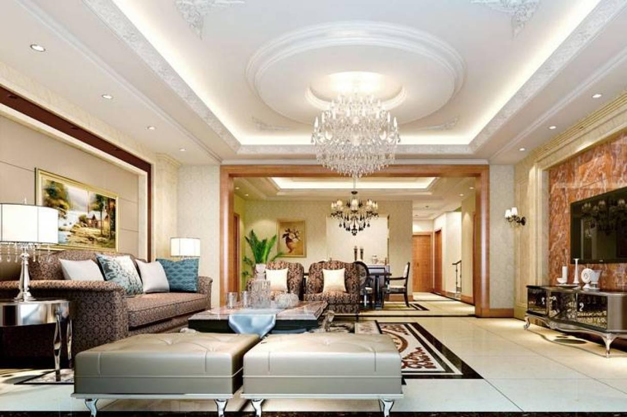 简欧风格客厅圆形吊顶装修效果图-简欧风格沙发图片